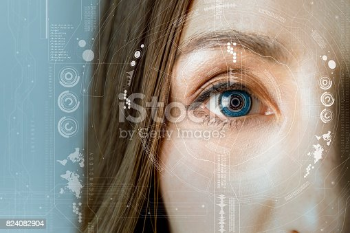 istock human eye and graphical interface. smart contact lens concept. 824082904