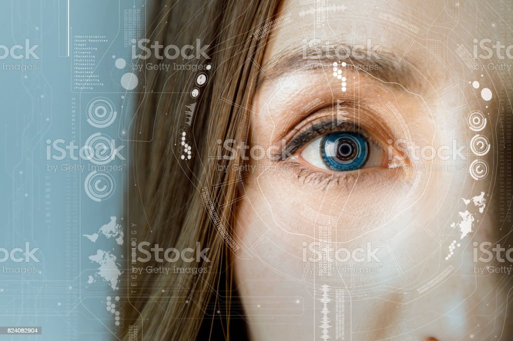 human eye and graphical interface. smart contact lens concept. stock photo