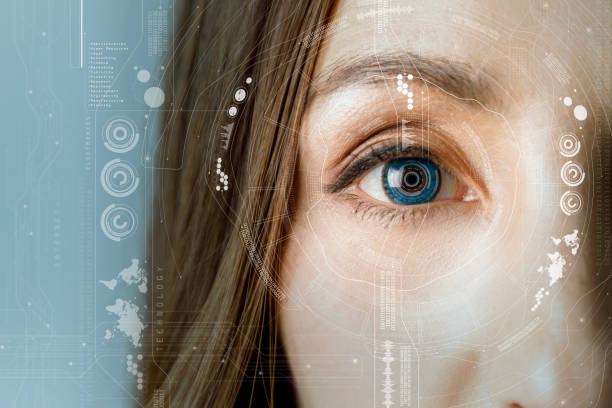 human eye and graphical interface. smart contact lens concept. - identity stock photos and pictures