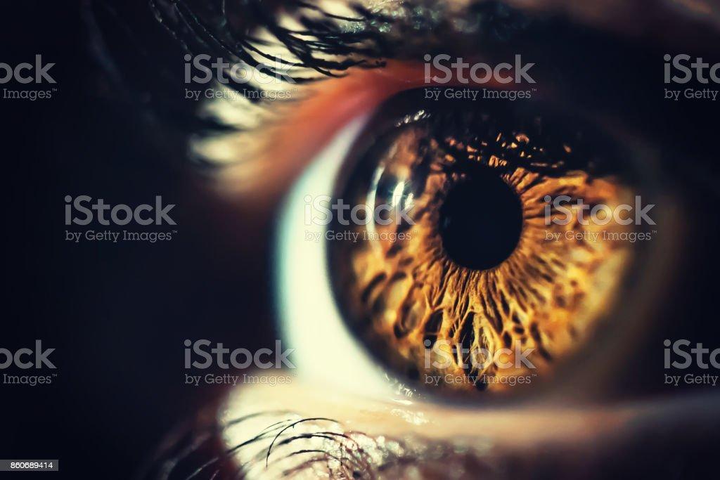 Human eye iris close up stock photo