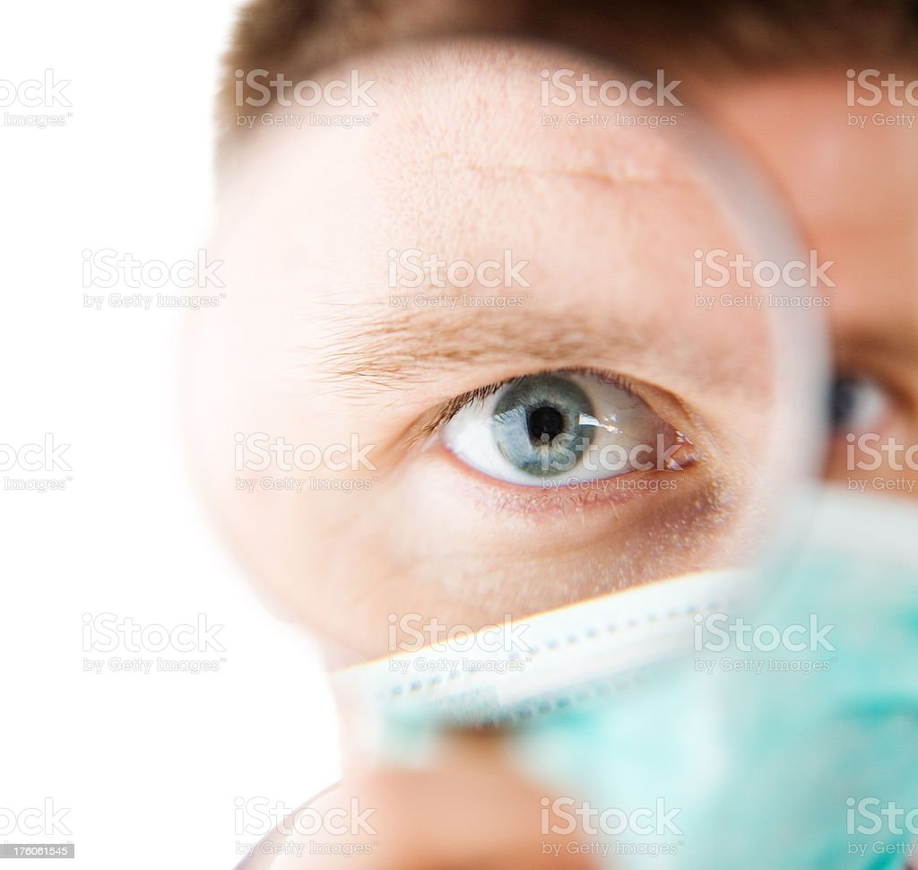 Human Eye Magnified, Male Doctor royalty-free stock photo
