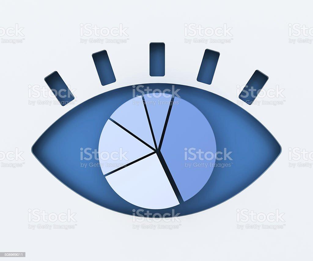 Ojo Humano En Papel Con Diagrama Circular 3d Render - Fotografía de ...