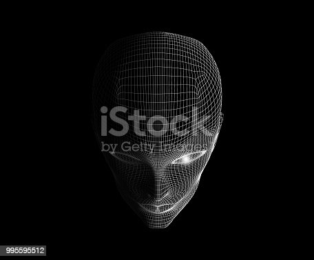 istock Human eyes and face isolated on black background in technology concept for halloween's day, artificial intelligence. 3d illustration 995595512