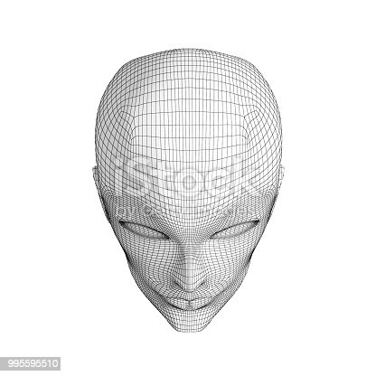 istock Human eyes and face isolated on white background in technology concept, artificial intelligence. 3d illustration 995595510
