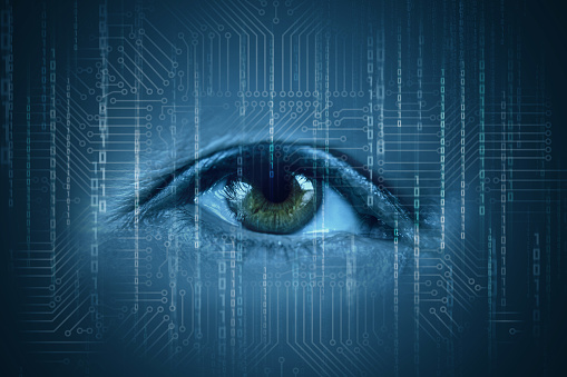 510584002 istock photo Human eyes watching the flow of information. 932439516