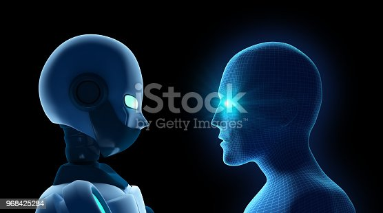 istock Human fights robot on black. Artificial intelligence in futuristic technology concept. 3d illustration 968425284