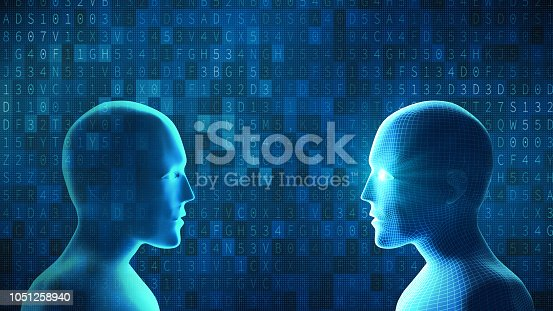 istock Human fights robot with digital computer data code on blue background. Artificial intelligence in futuristic technology concept. 3d illustration 1051258940