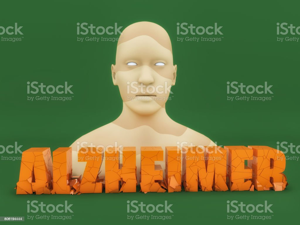 Human figure and 3d Alzheimer text stock photo