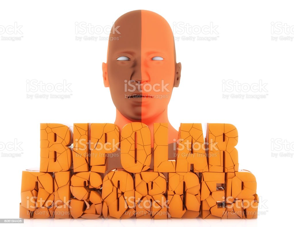Human figure and 3d bipolar disorder text stock photo