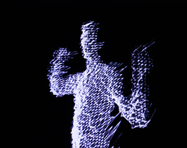 3D human figure in polygonal mesh. 3D human figure in polygonal mesh (3D grid). Computer simulation. Body scanning. Human body model. 3d scanning stock pictures, royalty-free photos & images