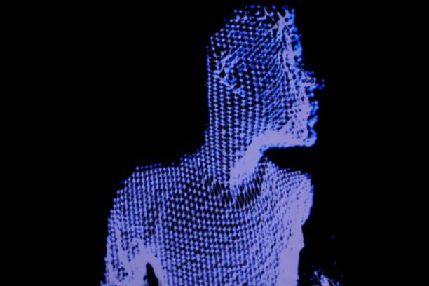 3D human figure in polygonal mesh. stock photo
