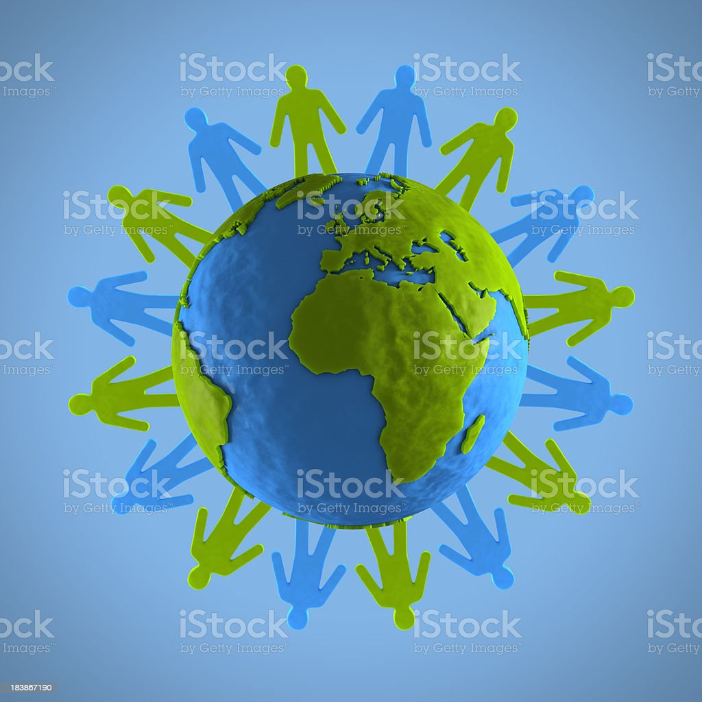 Human figures surround a clay globe stock photo