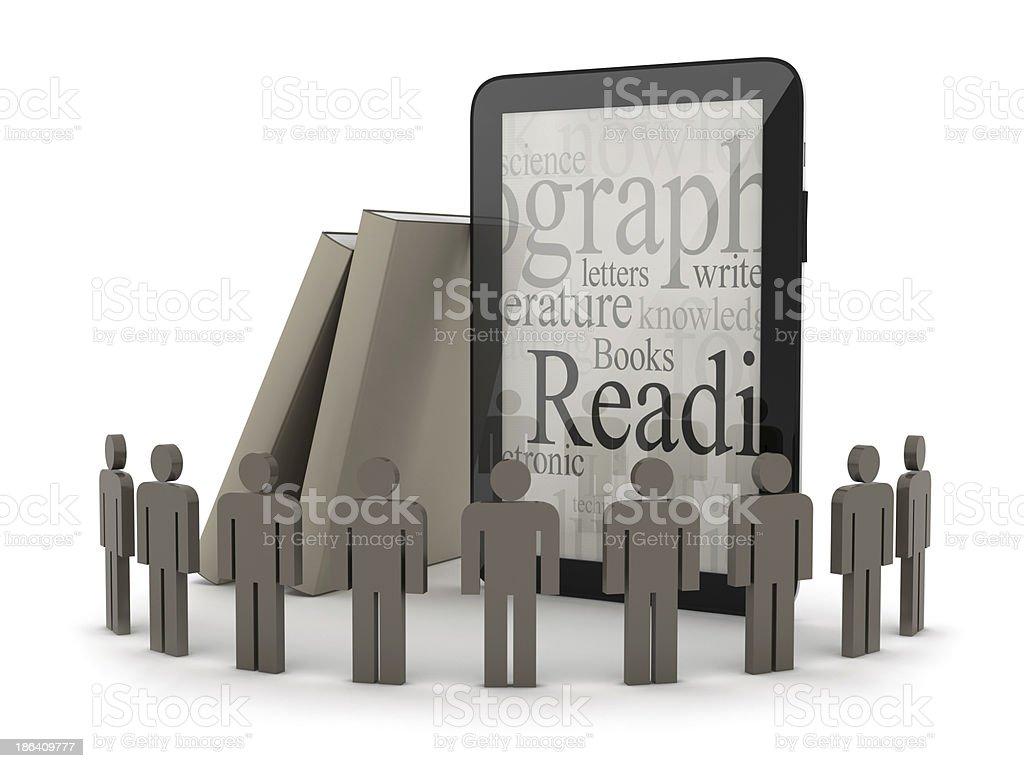 Human figures, tablet computer and books royalty-free stock photo