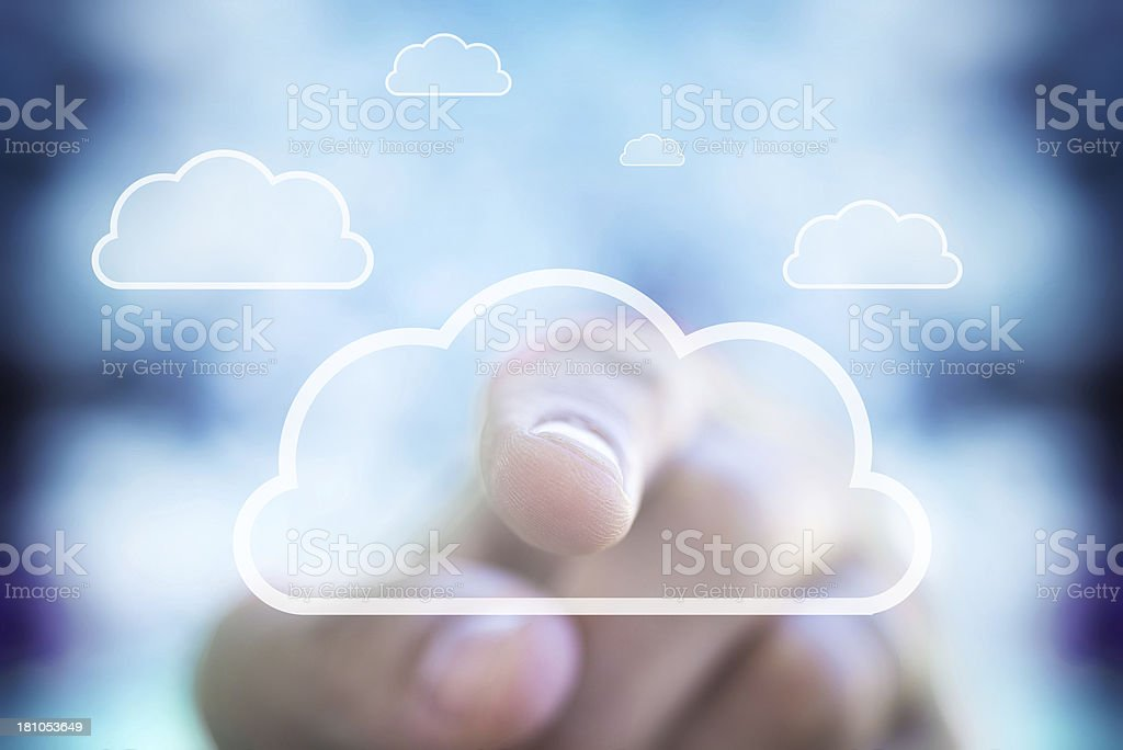 Human Finger and Cloud Computing stock photo