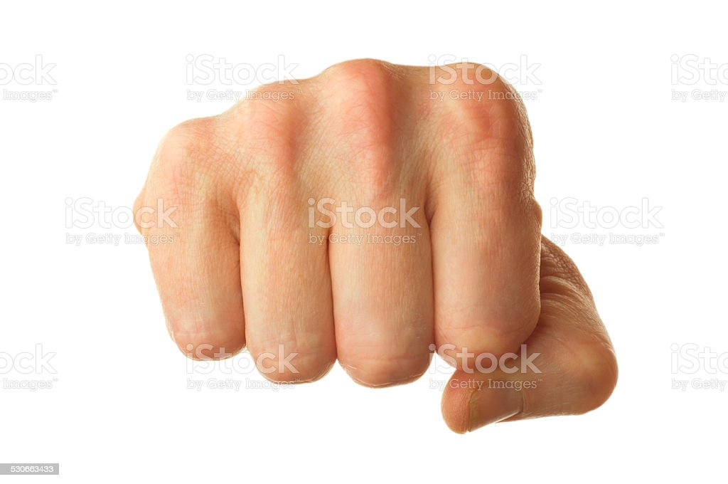 human fist isolated stock photo