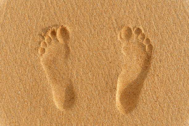 menschliche fußabdrücke im sand - fußspuren stock-fotos und bilder