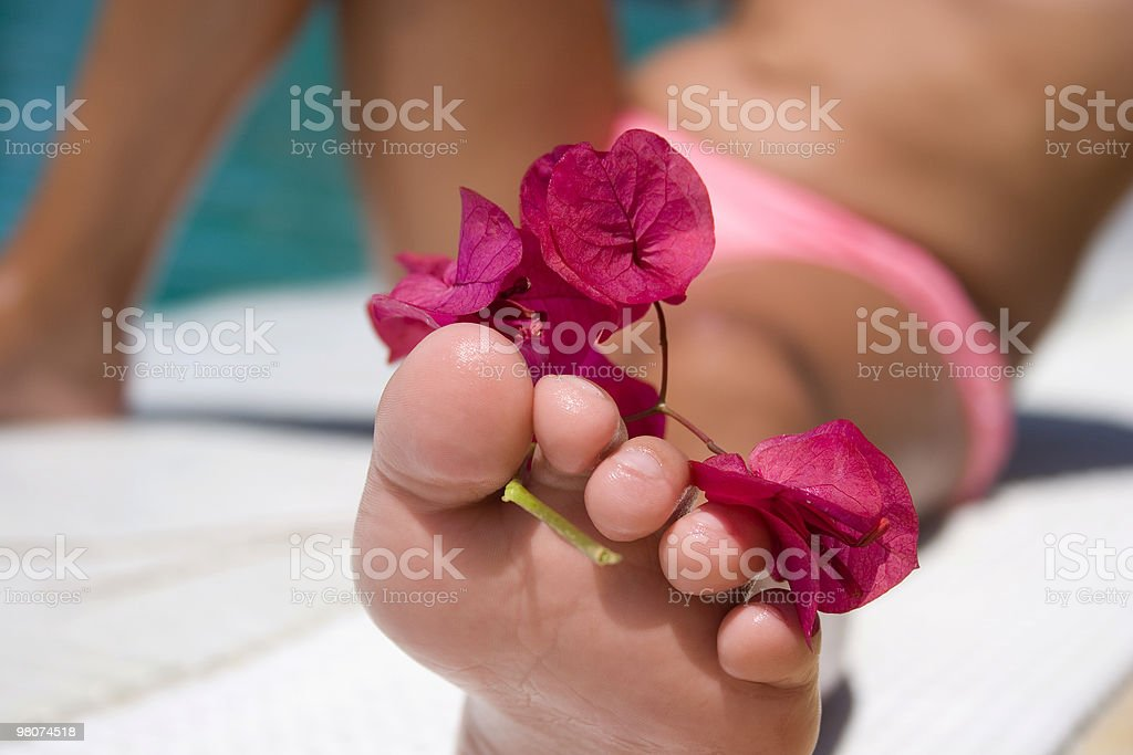 Human Foot whith a Flower royalty-free stock photo