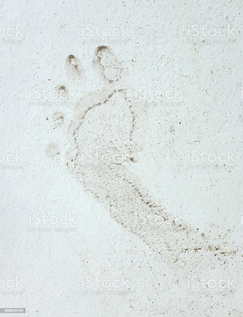Human Footprints stain on the cement floor stock photo
