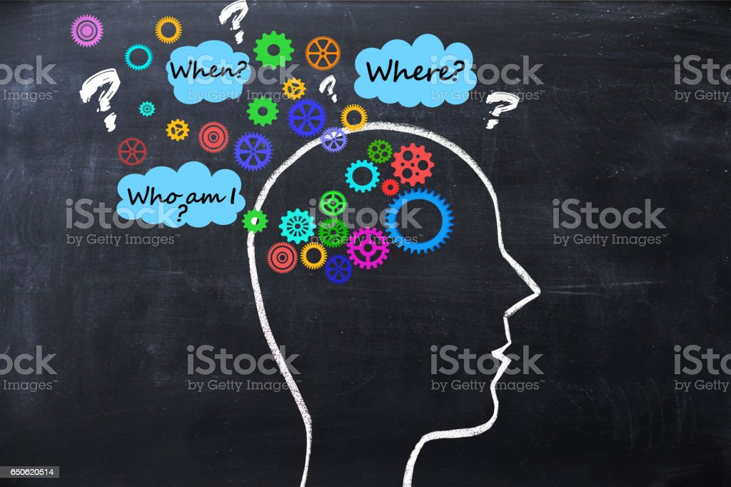 Human had with spinning gears overflowing its outline, not functioning properly, suggesting  Alzheimer disease  or memory loss stock photo