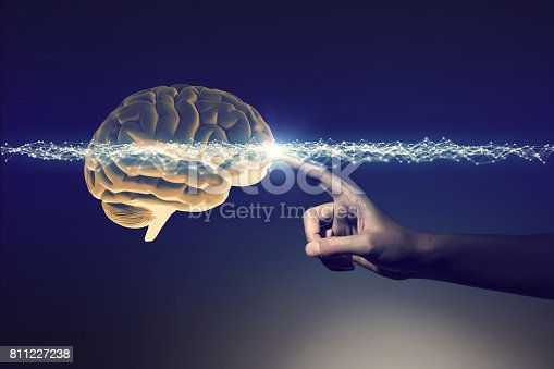 istock human hand and brain, 3D rendering 811227238