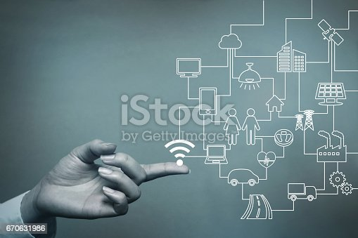 istock human hand and connected icons of IoT, abstract concept visual 670631986