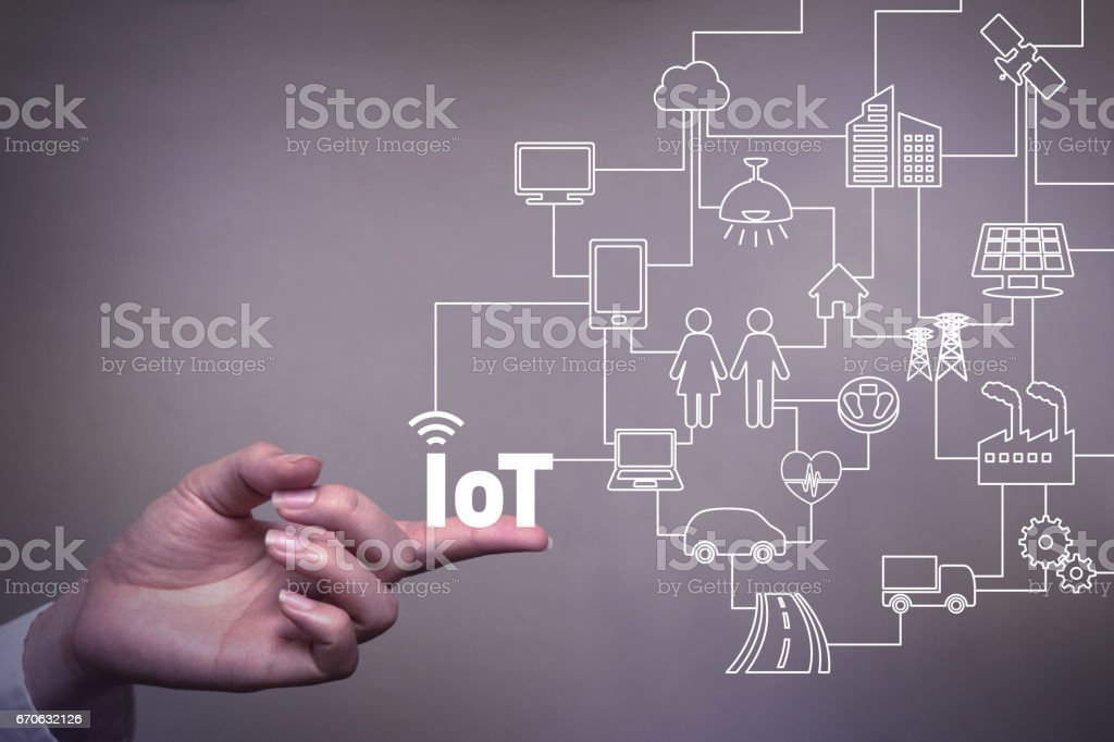human hand and connected icons of IoT, abstract concept visual stock photo