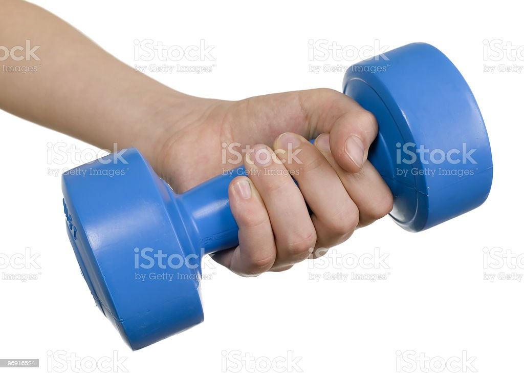 Human hand and dumbbell royalty-free stock photo