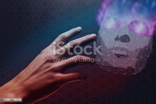 812847840 istock photo Human hand and mask of hacker low poly. Mixed media. 1096778936