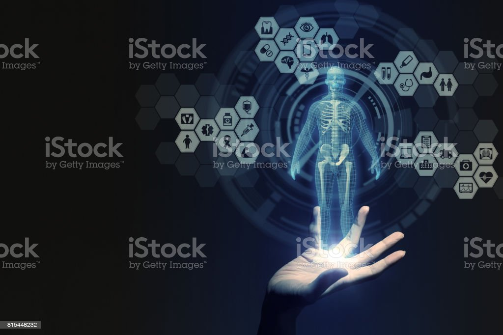 human hand and medical technology, 3D rendering stock photo