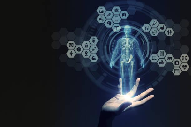 renderização de mão humana e tecnologia médica, 3d - ortopedia - fotografias e filmes do acervo
