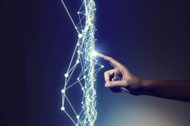 human hand and mesh network abstract, 3D rendering stock photo