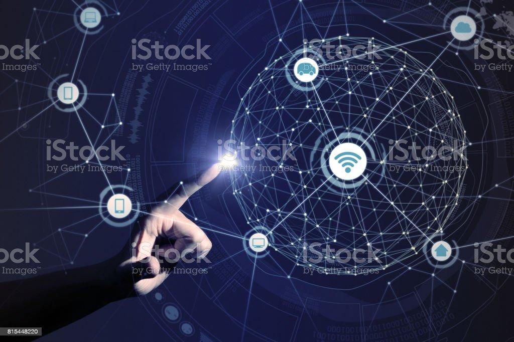 mano humana y procesamiento en red malla 3D, Resumen - foto de stock