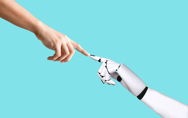 Human hand and robot hand system concept integration and coordination of artificial intelligence technology stock photo