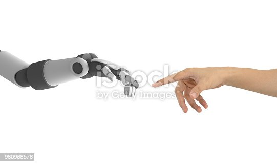 istock Human hand and robot's hand pointing to each other isolated on white background, artificial intelligence in futuristic technology concept, 3d illustration 960988576