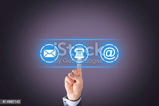 istock Human Hand Contact Us on Visual Screen 614992142
