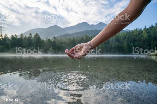 Human hand cupped to catch fresh water from mountain lake switzerland picture id1090252176?b=1&k=6&m=1090252176&s=612x612&h=ibuoy8imxwgk4 c01abfxrgsnblolthqijfso8hacny=