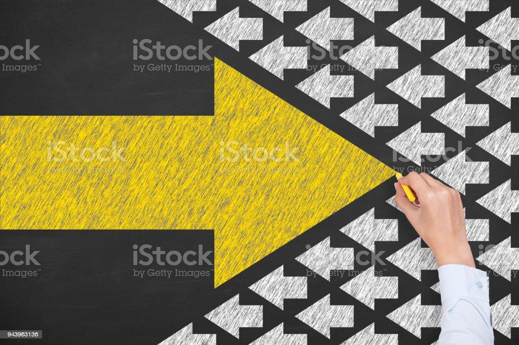 Human Hand Drawing Leadership Concepts Human Hand Drawing Leadership Concepts Adult Stock Photo