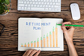 istock Human Hand Drawing Retirement Plan Growth Concept 928088256