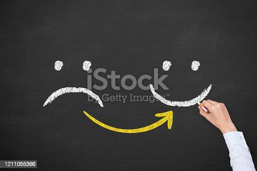622323384 istock photo Human Hand Drawing Unhappy and Happy on Blackboard 1211055366