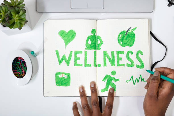 Human Hand Drawing Wellness Concept High Angle View Of A Human Hand Drawing Wellness Concept On Notebook wellbeing stock pictures, royalty-free photos & images