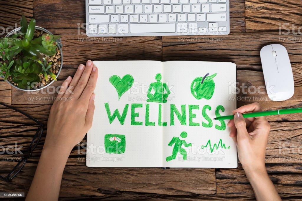 Menschliche Hand-Zeichnung-Wellness-Konzept – Foto