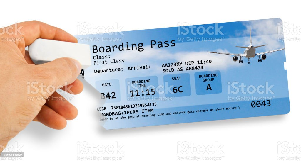 Human hand erases an airline ticket - Flight cancelled concept image - The image is totally invented and does not contain under copyright parts stock photo