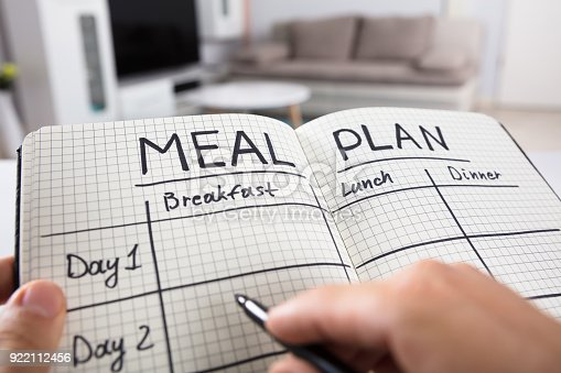 Close-up Of A Human Hand Filling Meal Plan In Checkered Pattern Notebook