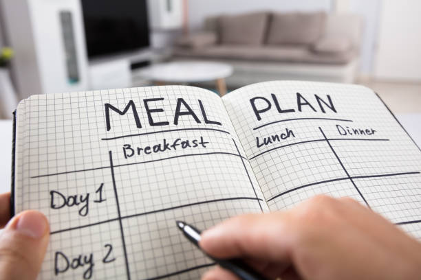 human hand filling meal plan in notebook - layout design stock photos and pictures