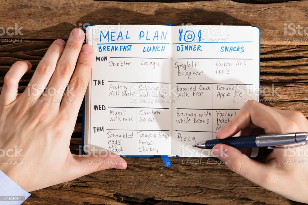 Elevated View Of A Human Hand Filling Meal Plan On Notebook At...