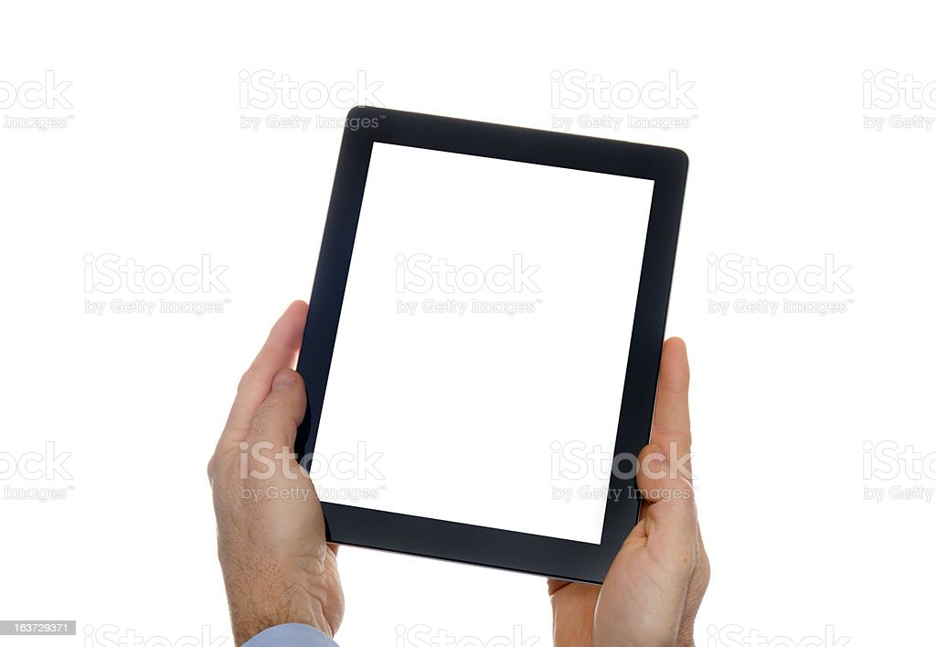 Human hand holding black digital tablet with blank screen royalty-free stock photo