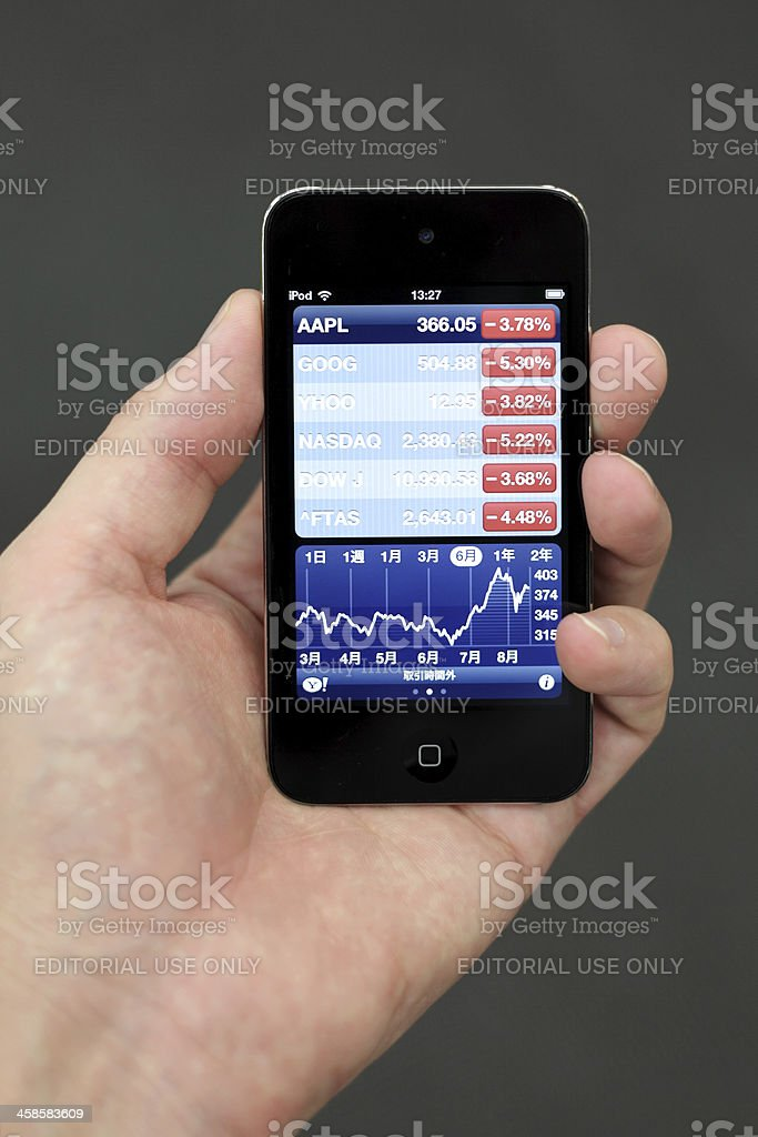 Human Hand Holding iPod Touch with Stock Exchange Application stock photo