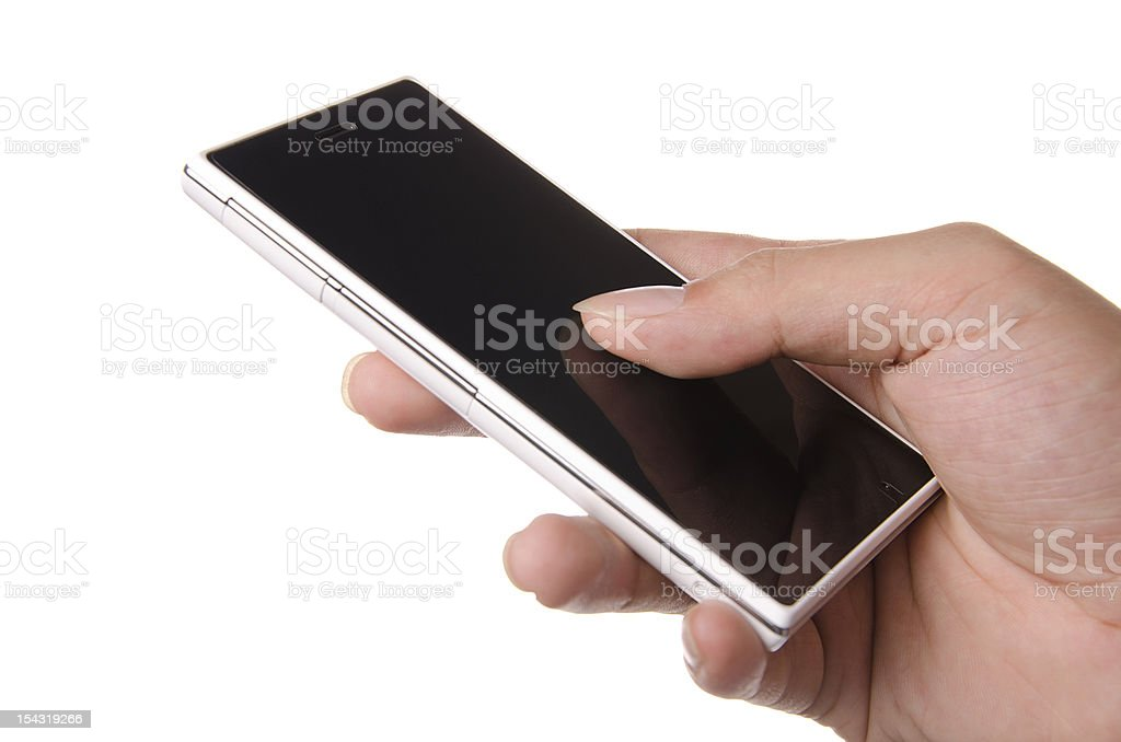 Human hand holding on smartphone royalty-free stock photo