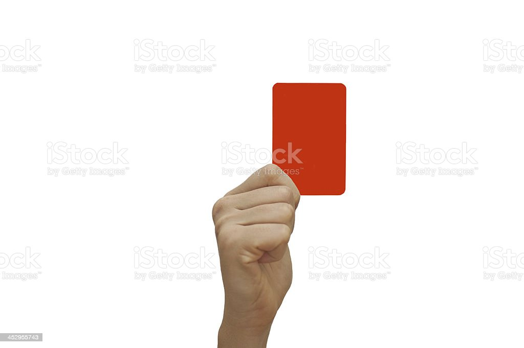 Human hand holding red card stock photo