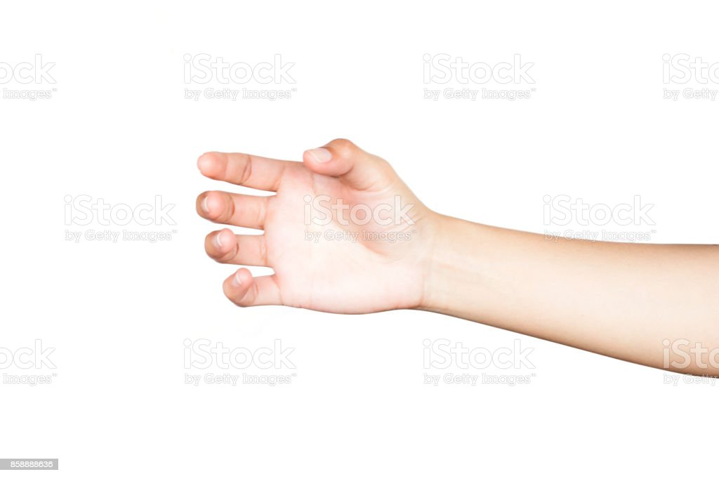 Human  hand holding something like a glass or bottle on white background stock photo